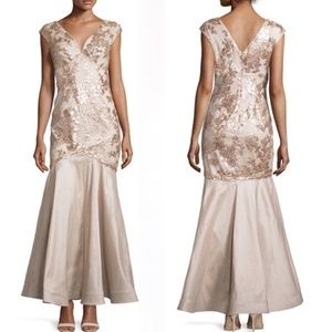 MARINA Sleeveless V-Neck Floral-Sequined Gown 4